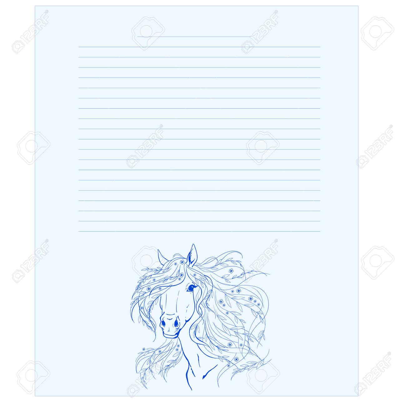 Tagebuchseitenvorlage Notizblockseite Ein Pferd Mit Blumen In Der