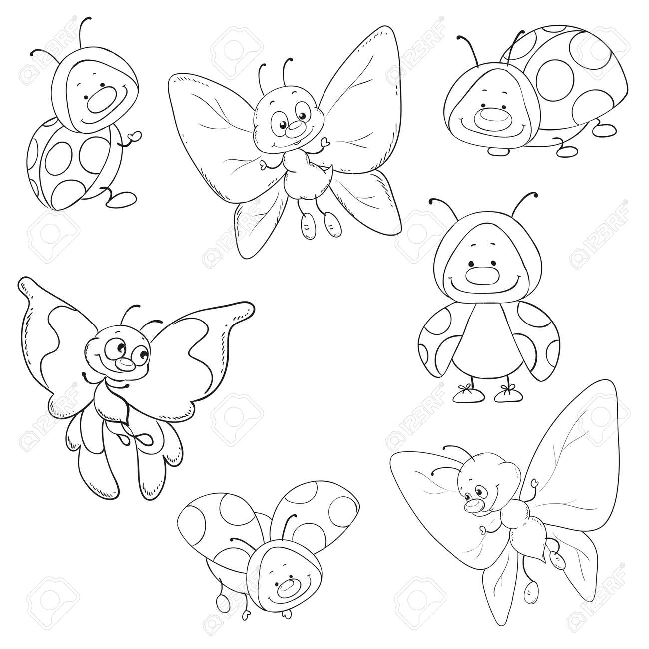 媒介昆虫蝶のセットとてんとう虫の塗り絵のイラスト素材ベクタ