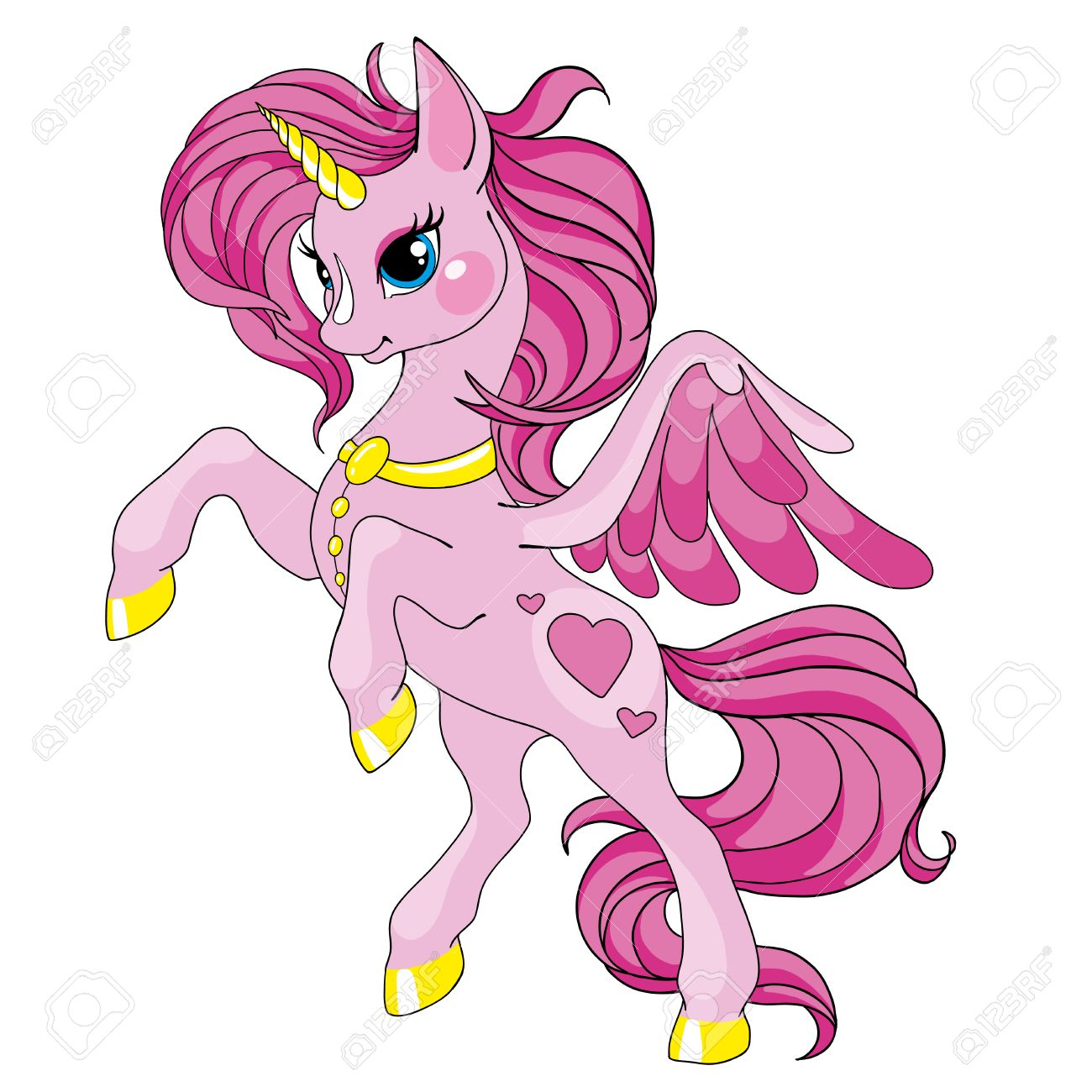 Fairy Tale Character Horse Cartoon Unicorn Pink Unicorn With Royalty Free Cliparts Vectors And Stock Illustration Image 85289960