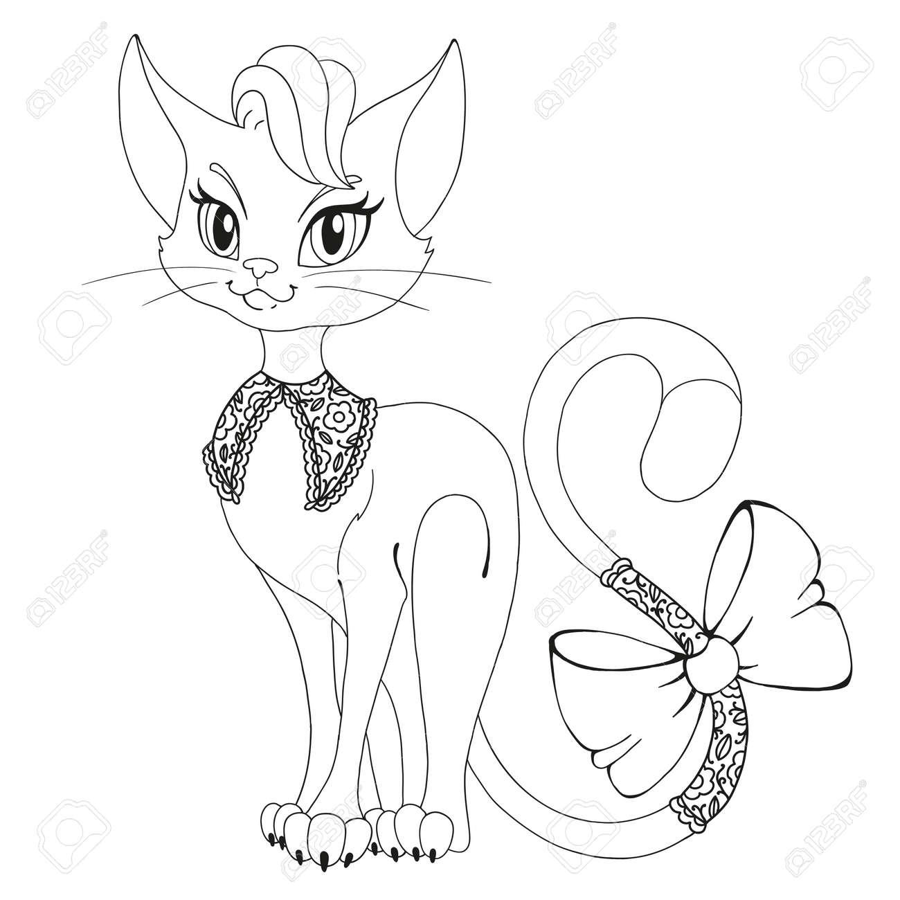 Malbuchseite. Eine Schöne Katze. Katze Mit Einem Bogen ...