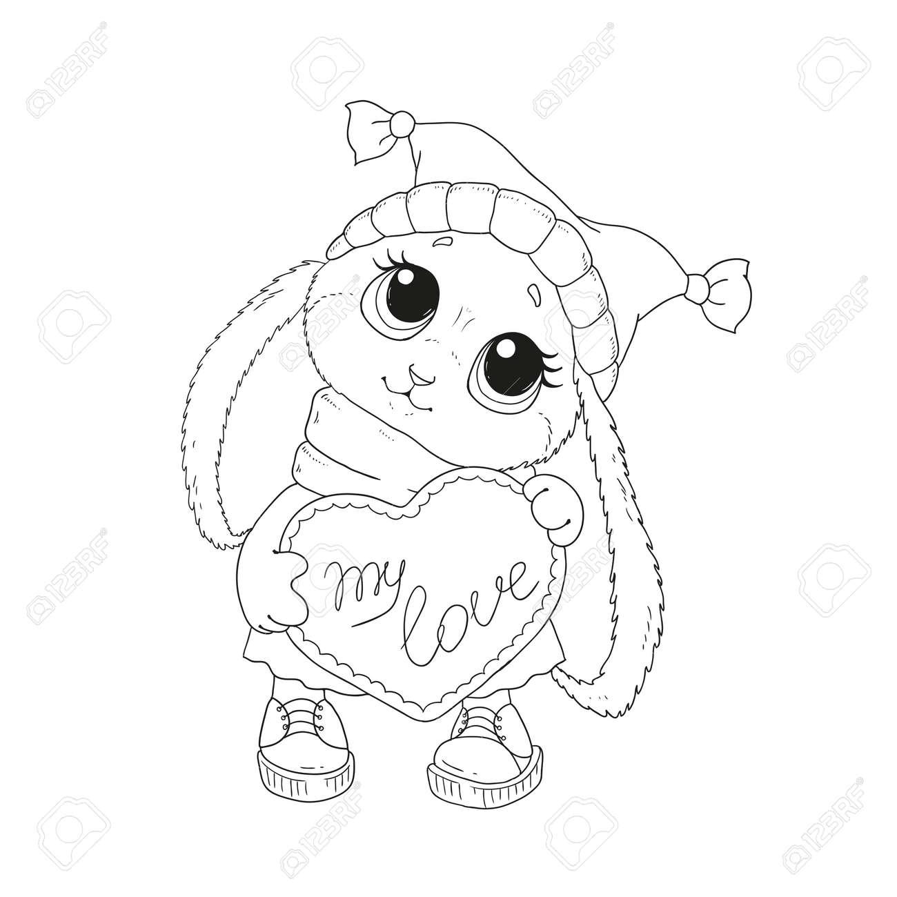 Encantador Conejito En Un Sombrero. Felicitaciones Por El Día De San ...