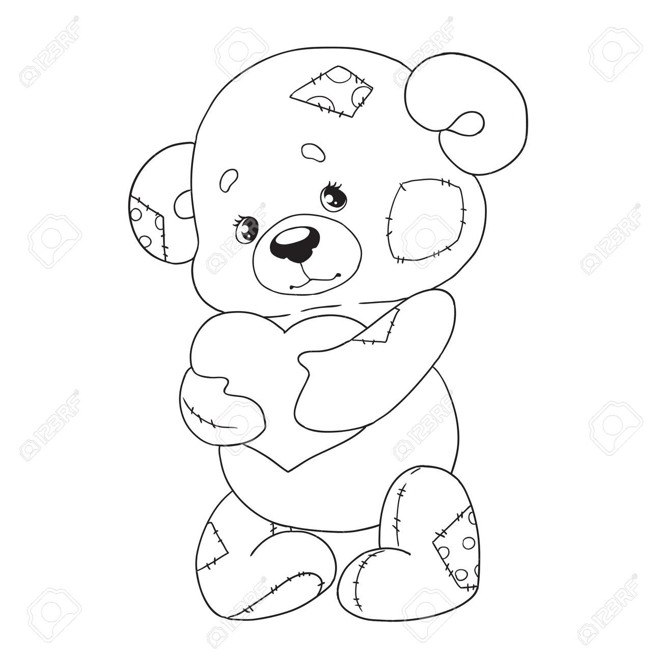 - Cute Cartoon Character Teddy. Bear With Heart. Coloring Book