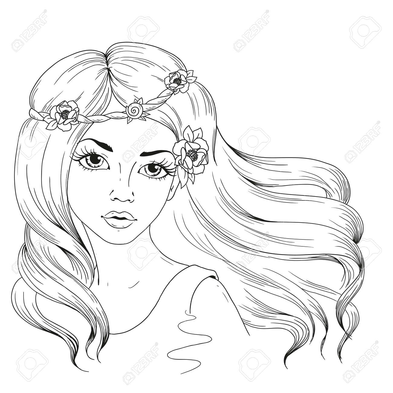 Beautiful girl with long hair woman with flowers in hairstyle vector character hand drawing