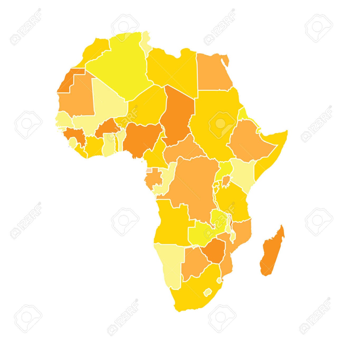 Africa Map Background.Africa Map In Yellow Colors Isolated On White Background Stock