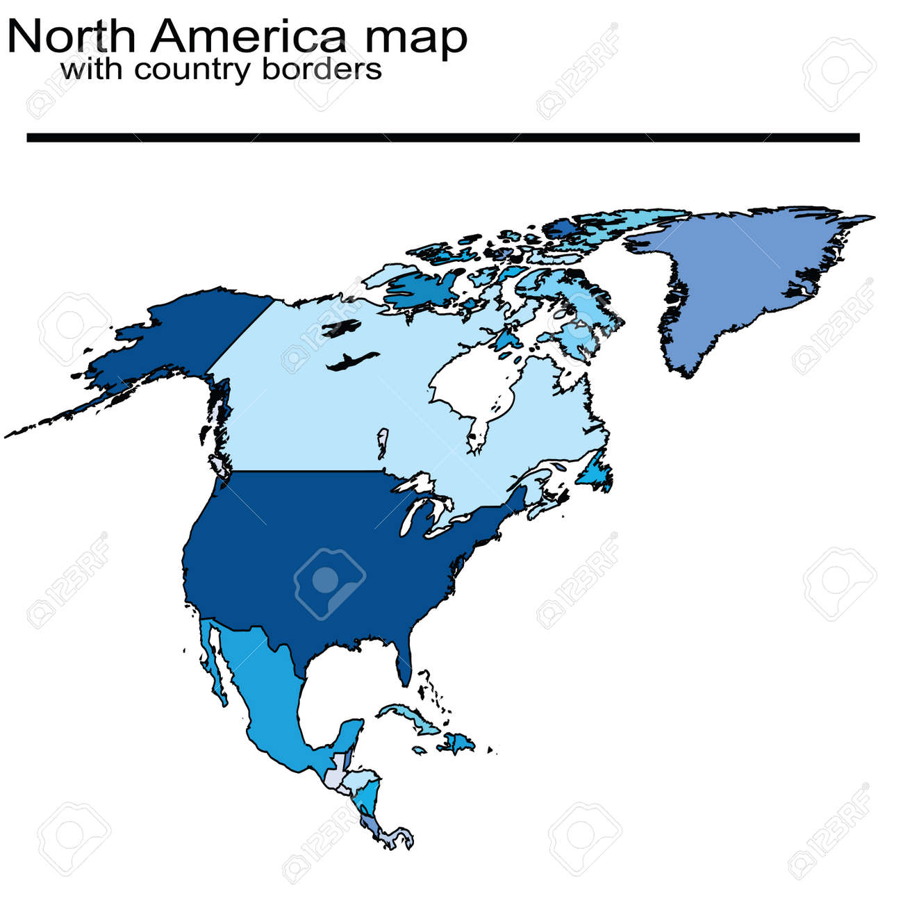 North America Map With Country Borders Stock Photo   7032230