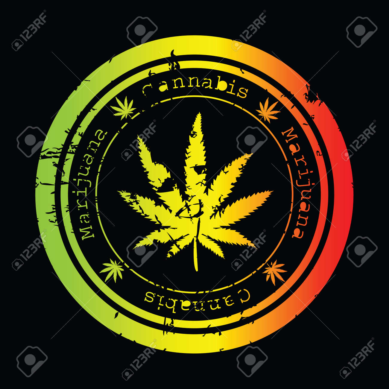 Grunge stamp with marijuana leaf Stock Photo - 7321339