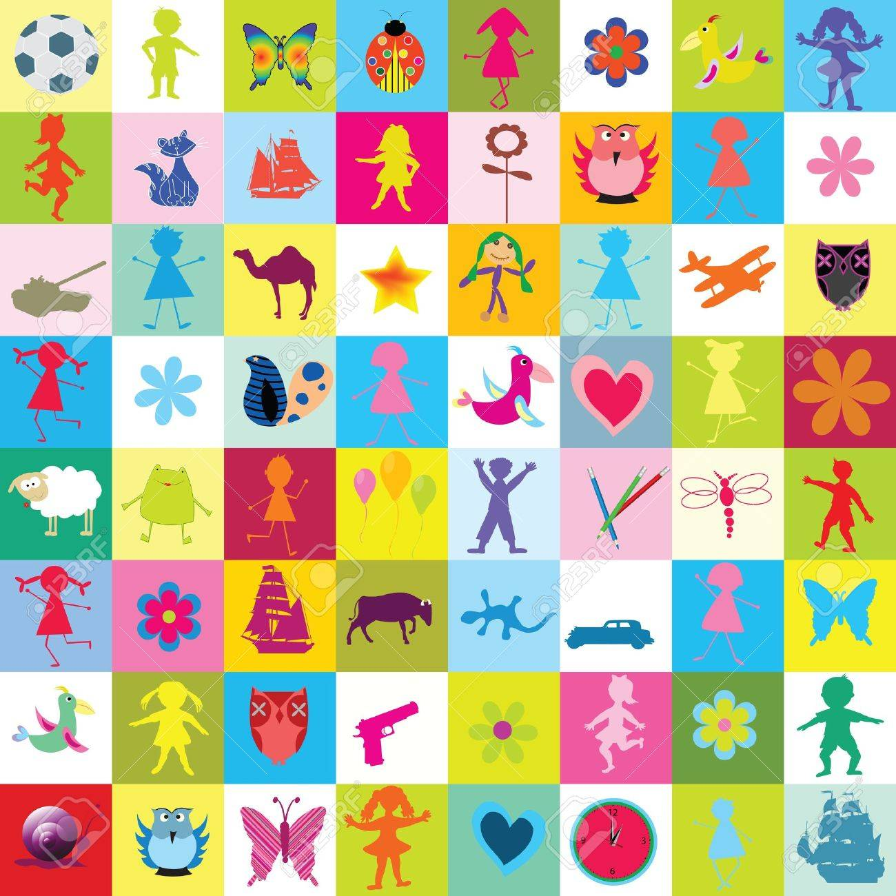 Pattern with toys and kids for kindergarten Stock Photo - 7321363