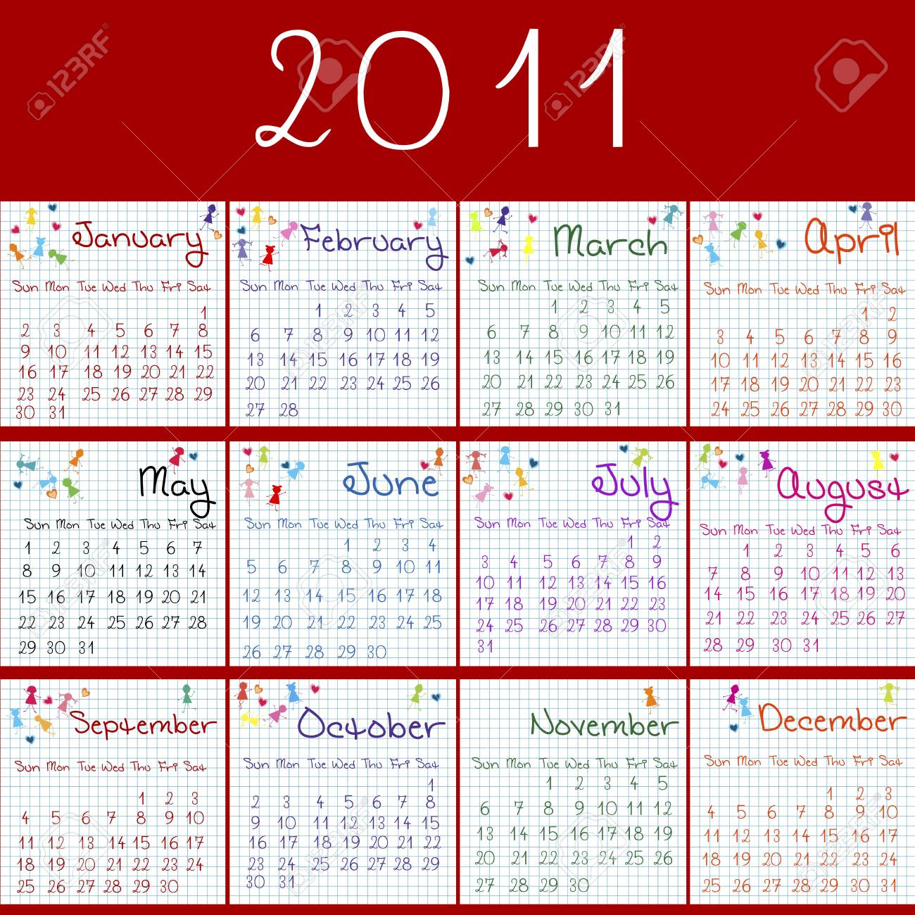 2011 calendar on math pages and red background Stock Photo - 7613379