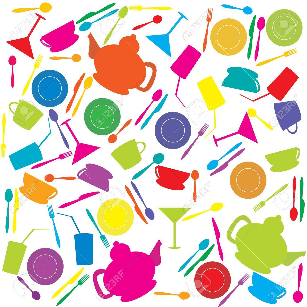 Background with colored kitchen stuff Stock Photo - 8254748