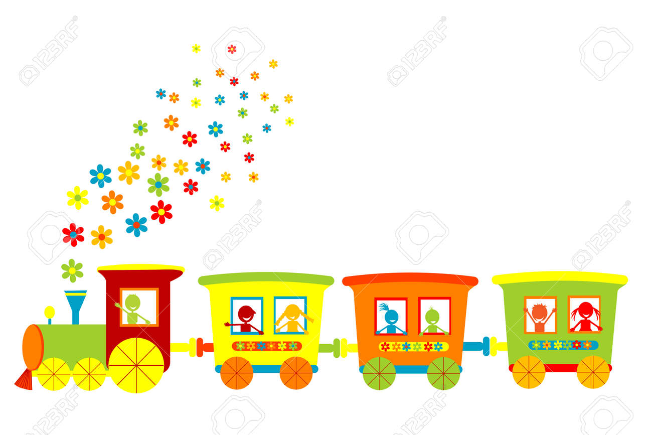 toy train with happy kids stock photo picture and royalty free