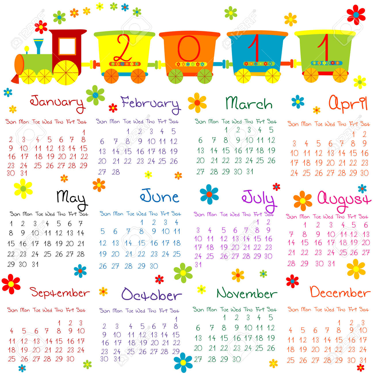 2011 calendar with train for kids Stock Photo - 8720176