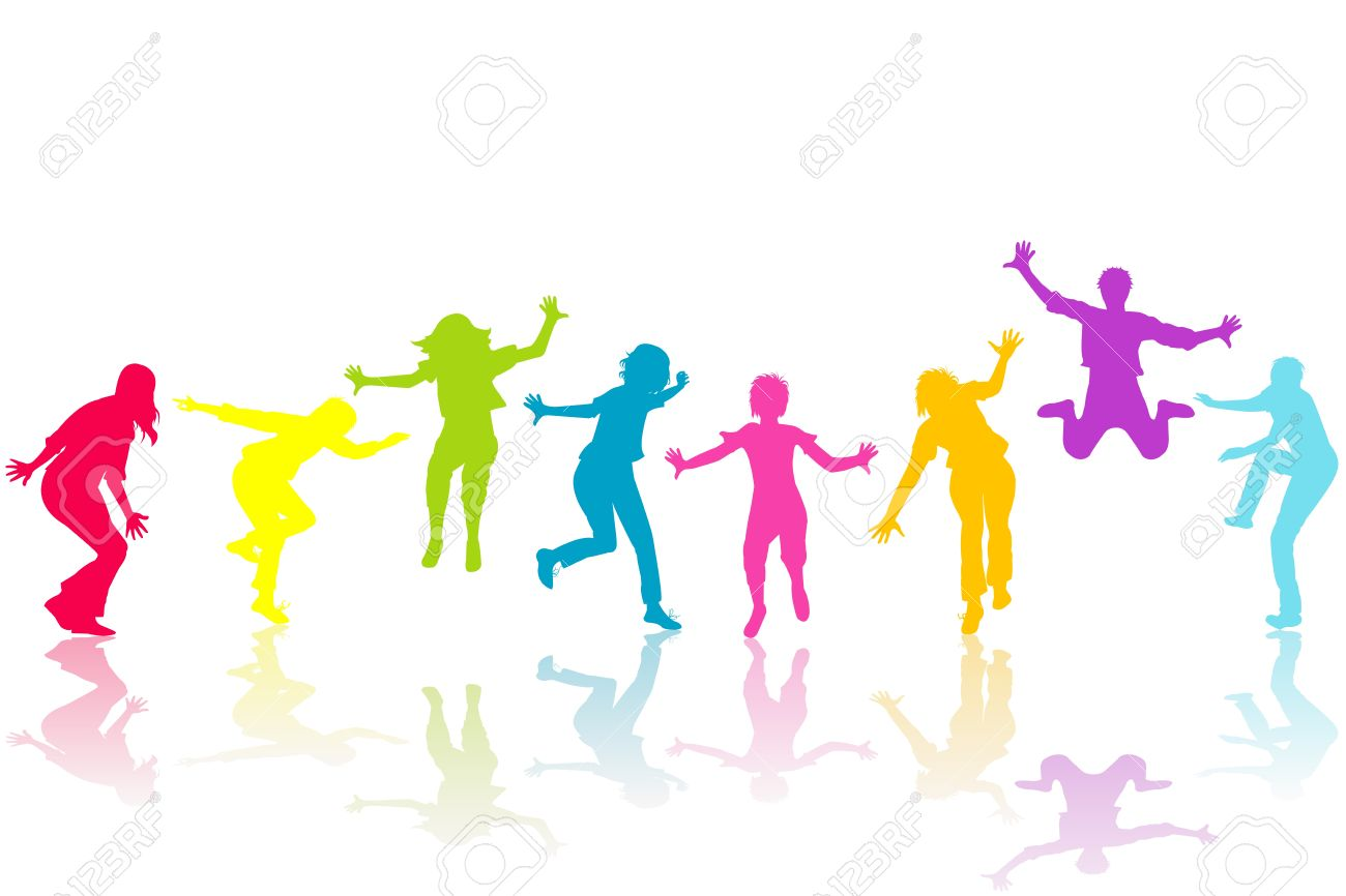 hand drown children colored silhouettes stock photo picture and