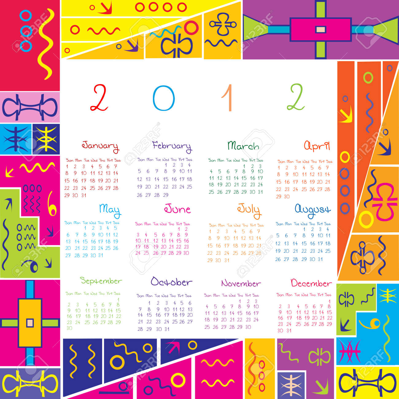 2012 calendar with colored frame for kids Stock Vector - 9584939