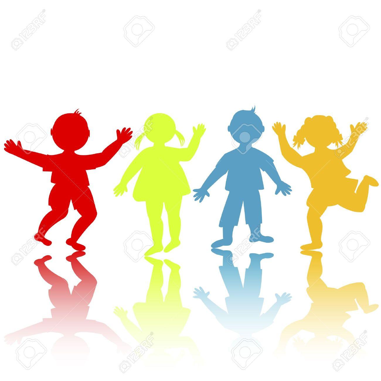 Siluetas De Color Niños Jugando Ilustraciones Vectoriales, Clip ...
