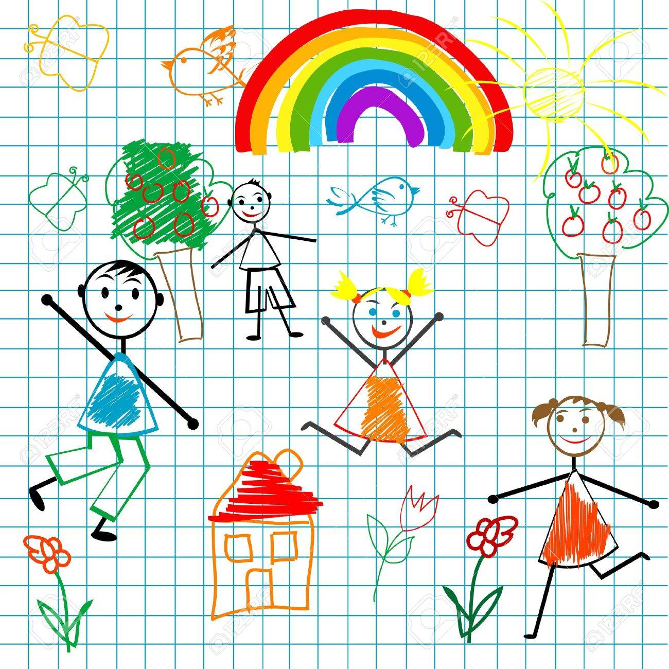 Doodle children on math page background Stock Vector - 9930833
