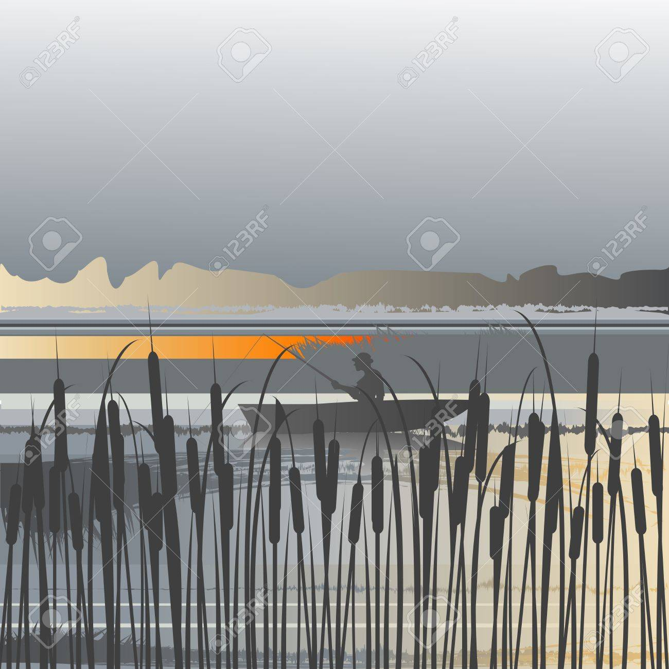 Landscape with river and fisherman Stock Vector - 9990664