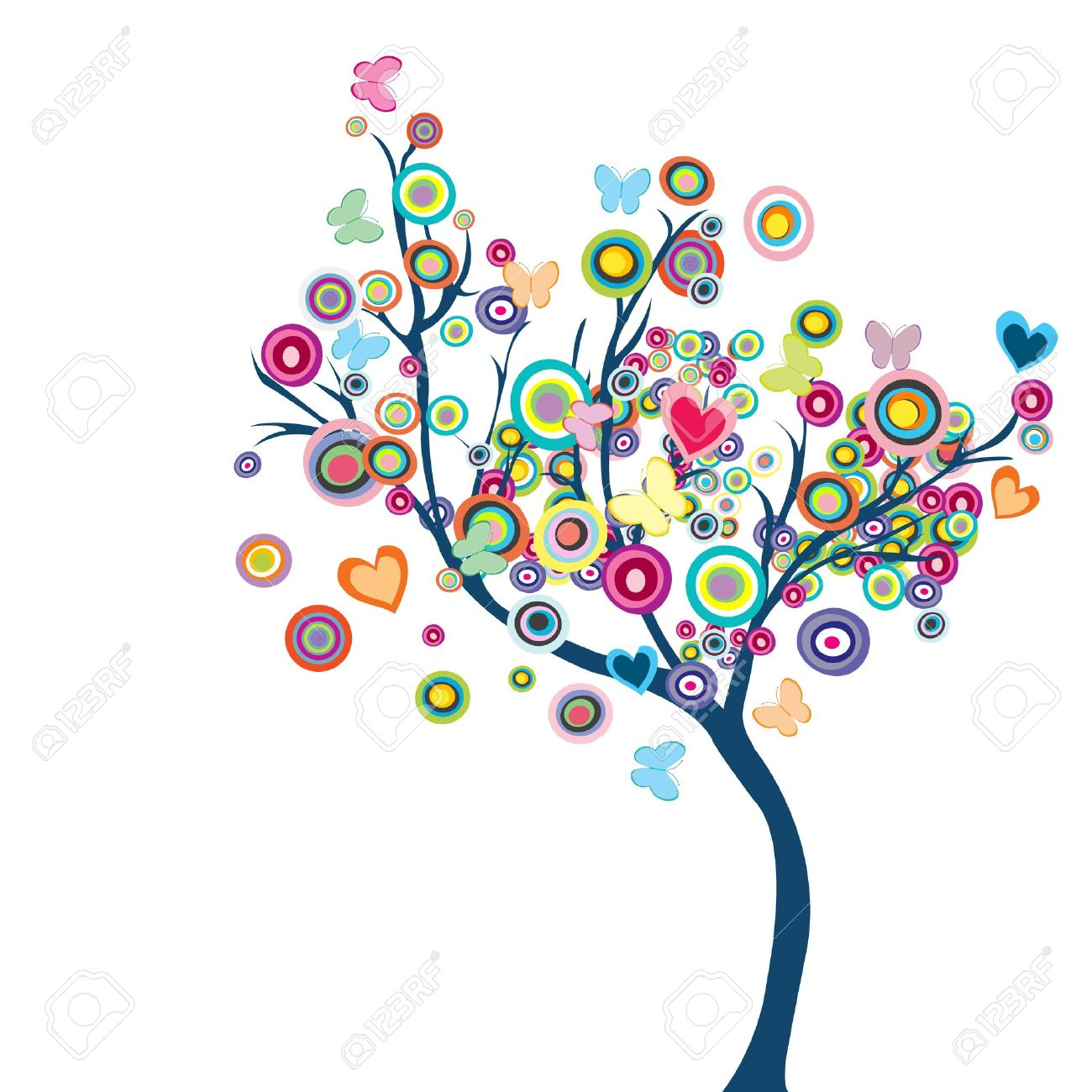 Colored happy tree with flowers and butterflies - 10931154