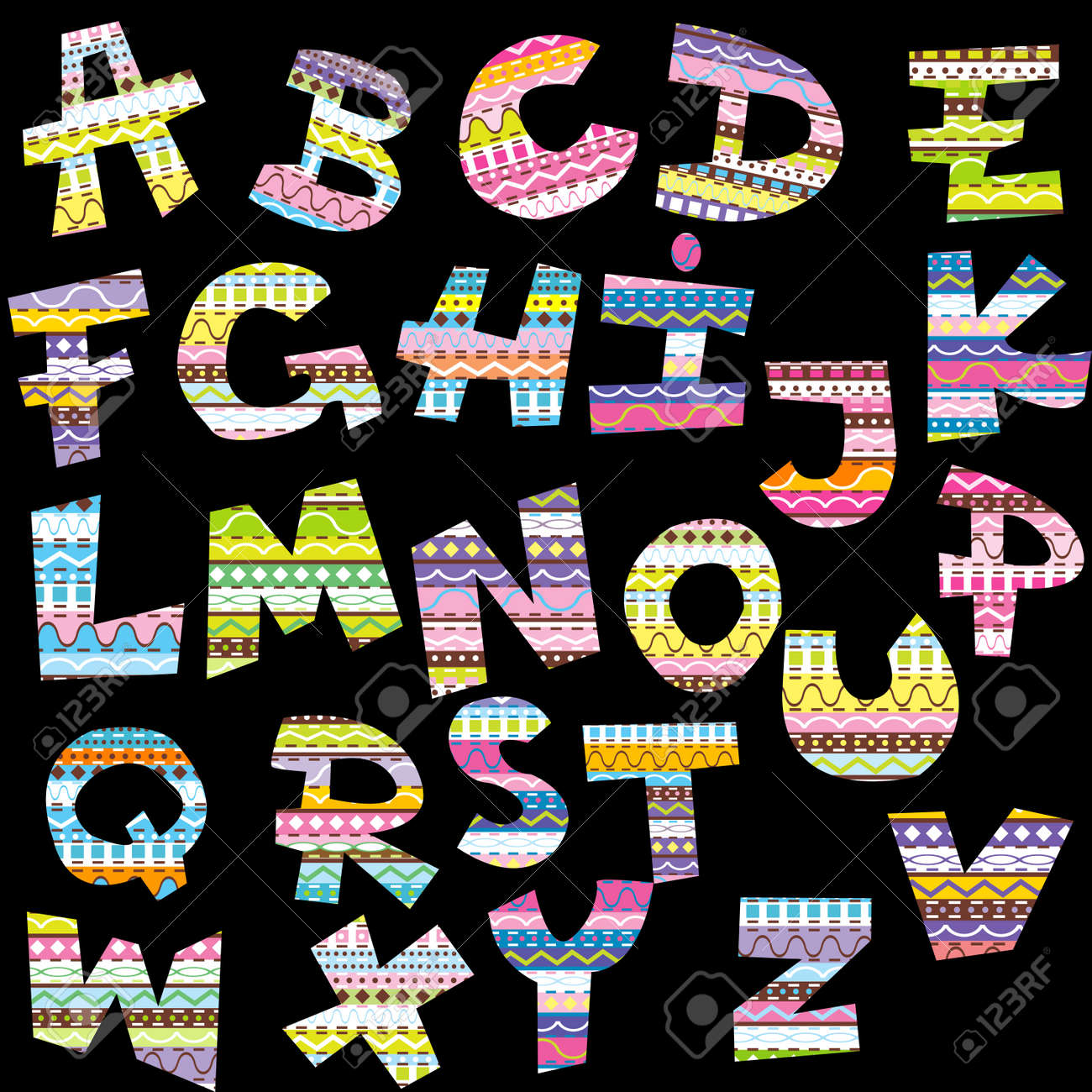 Letters of alphabet with ethnic decorative motifs Stock Vector - 10931146