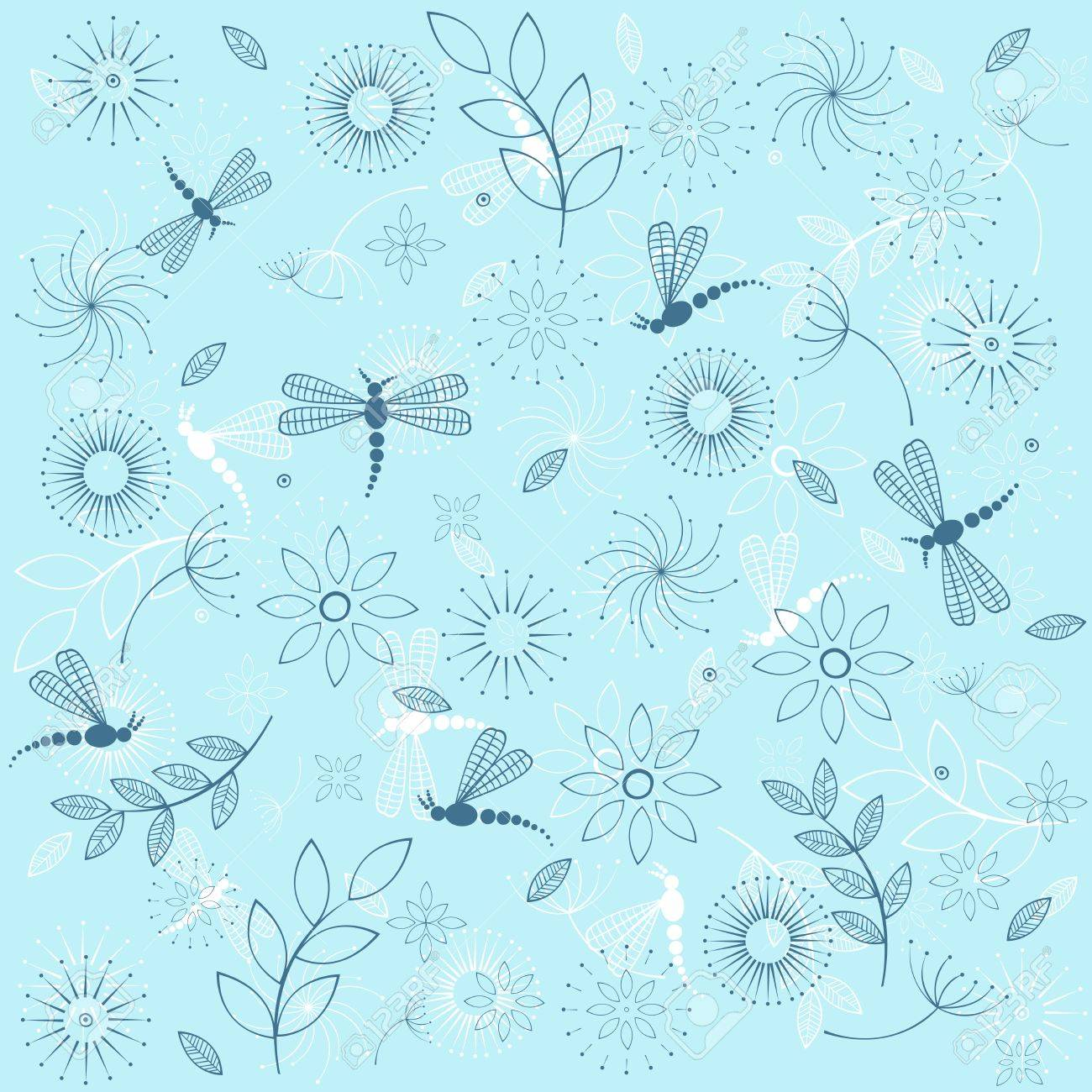 Background with blue dragonflies Stock Vector - 11590459