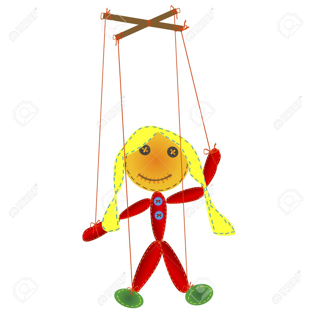 Handmade marionette, puppet on a string Stock Vector - 11878413
