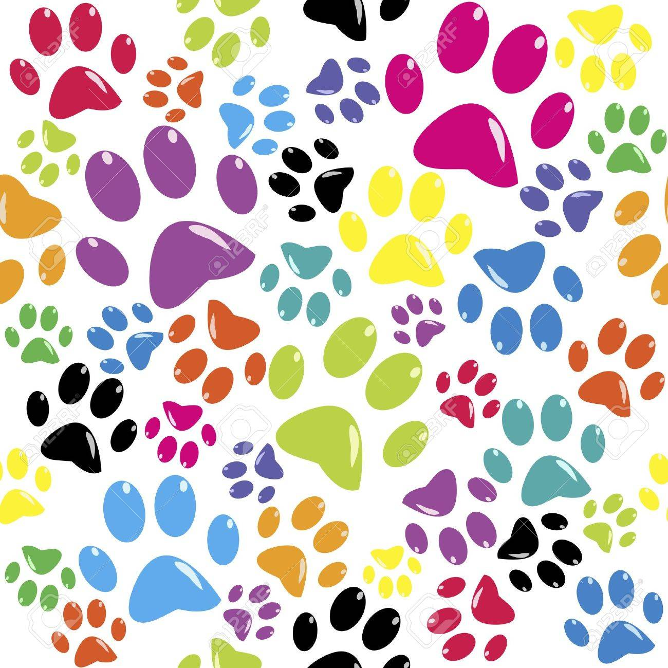 Seamless pattern with colored paws Stock Vector - 11878416