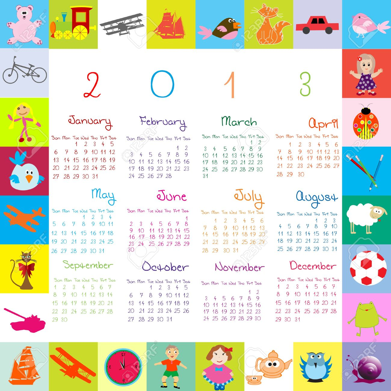 2013 calendar for kids Stock Vector - 12407474