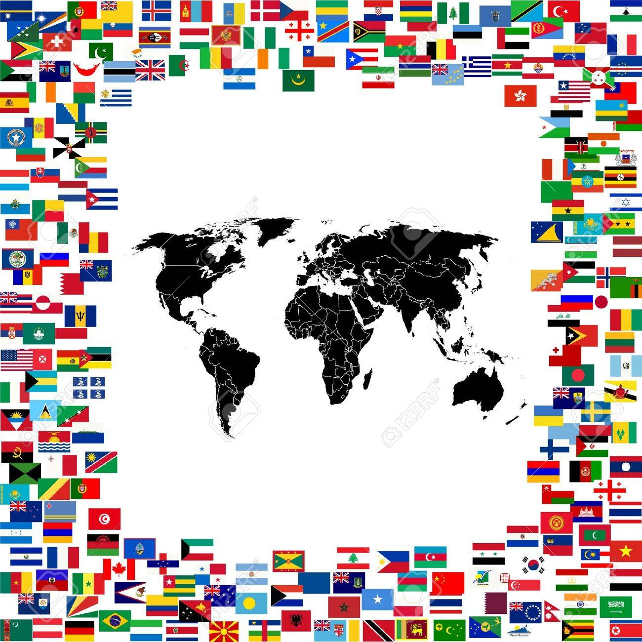 World map framed with world flags Stock Photo - 12407471