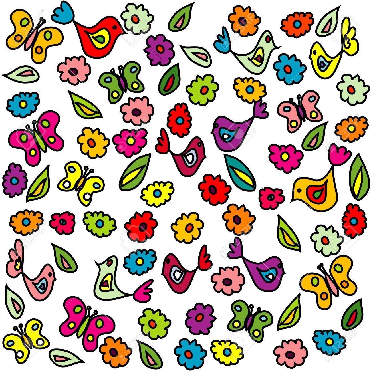Background with birds, butterflies and flowers, pattern for kindergarten Stock Vector - 14298171