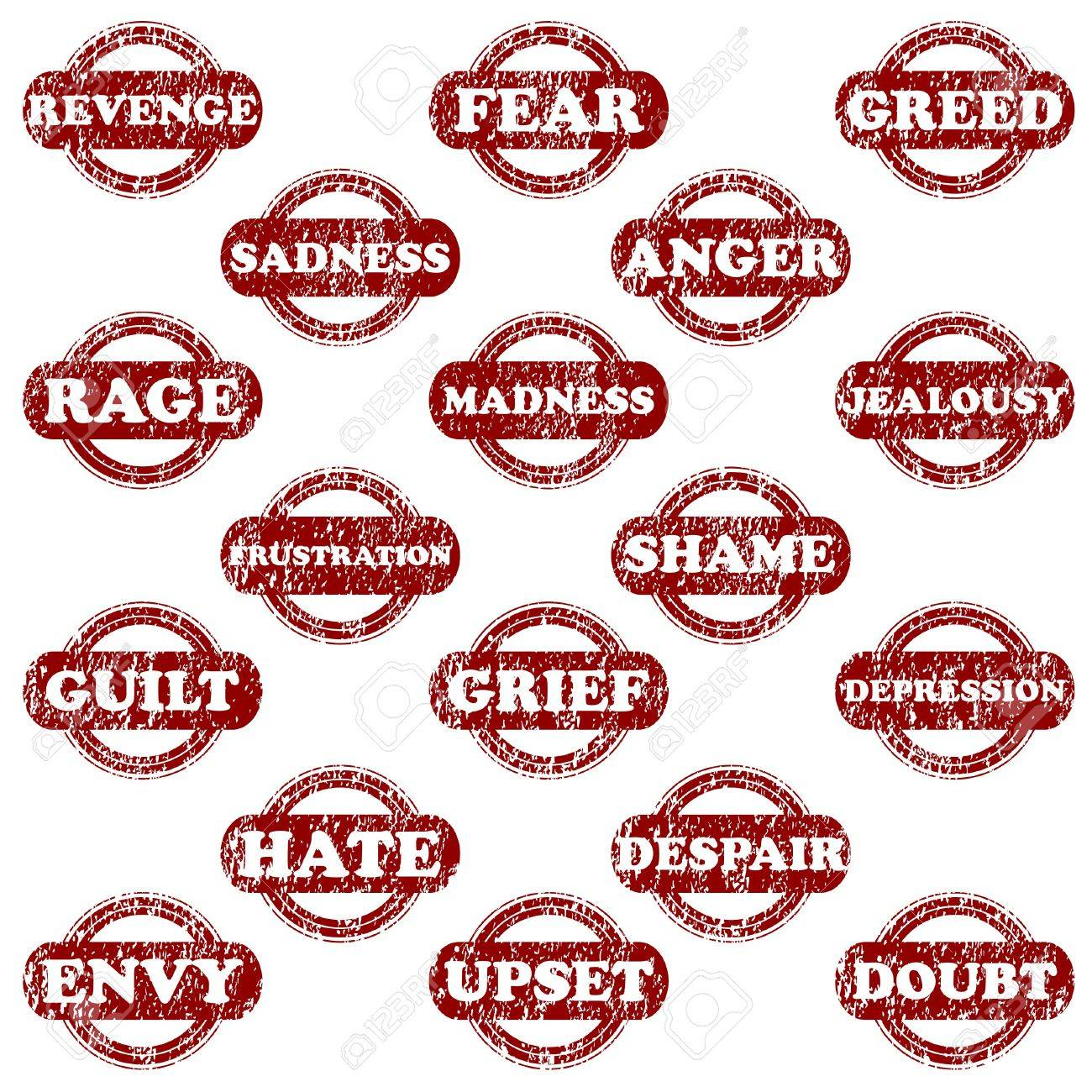 Set of rubber stamps with negative emotions Stock Vector - 14298188