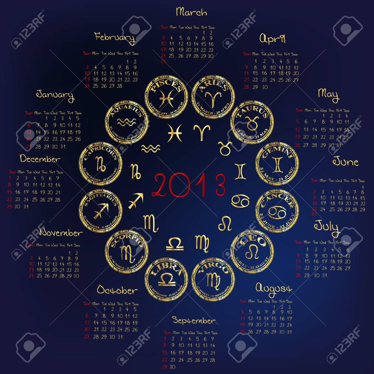 2013 Calendar with astrology signs Stock Vector - 14493243