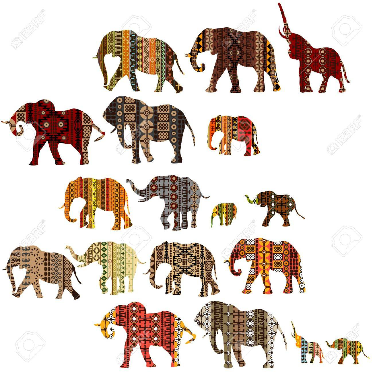 set of patterned elephants in ethnic style royalty free cliparts