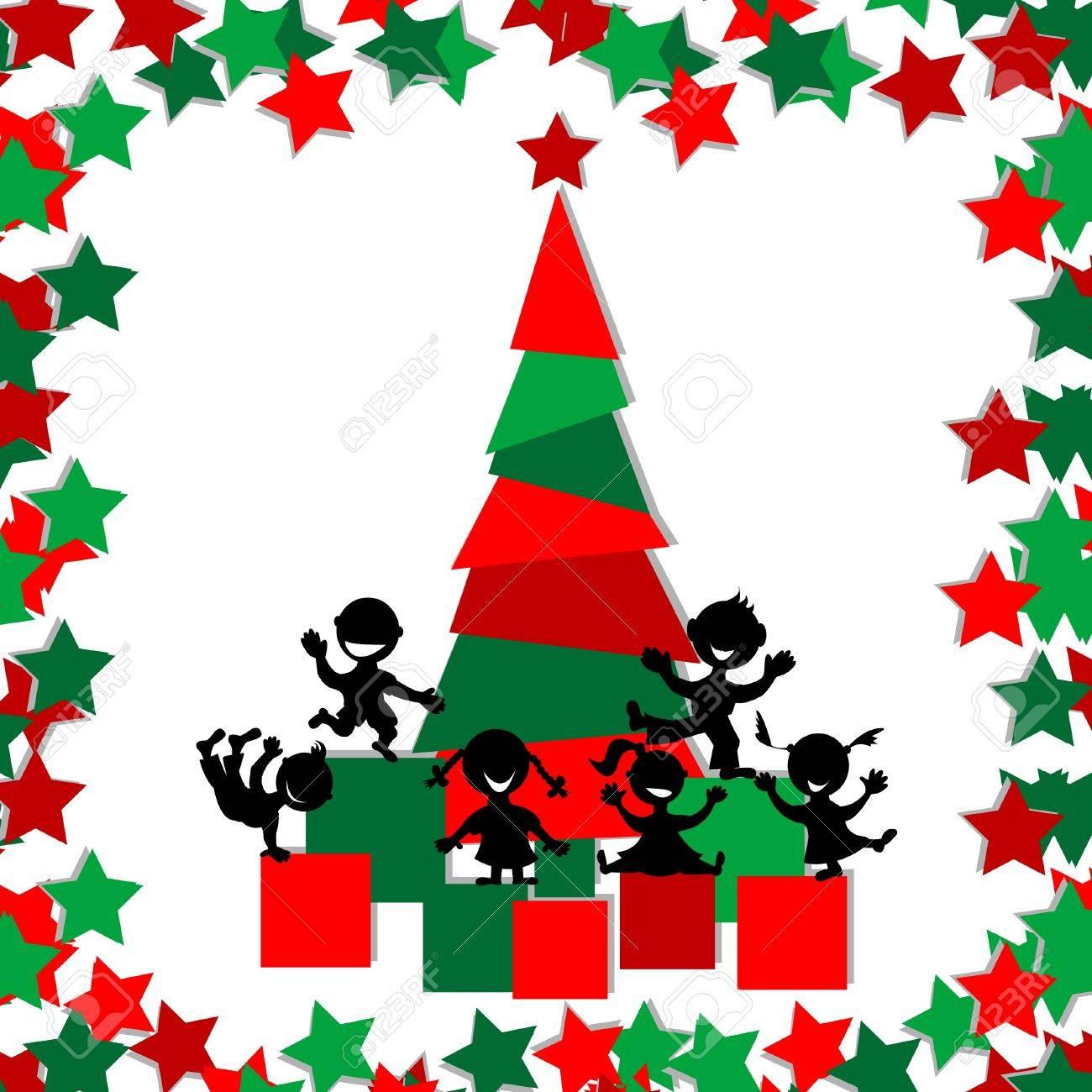 Christmas Card With Kids Playing Around A Christmas Tree Royalty ...