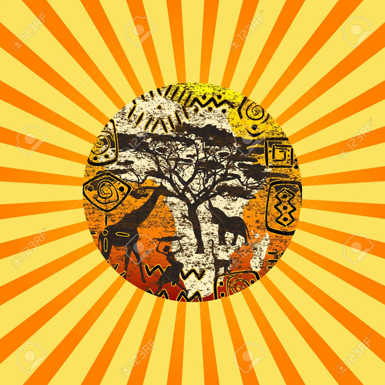 Sunburst with African symbols background - 21033783