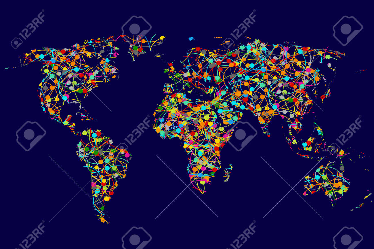World map made of abstract colorful dots network royalty free vector world map made of abstract colorful dots network gumiabroncs Images