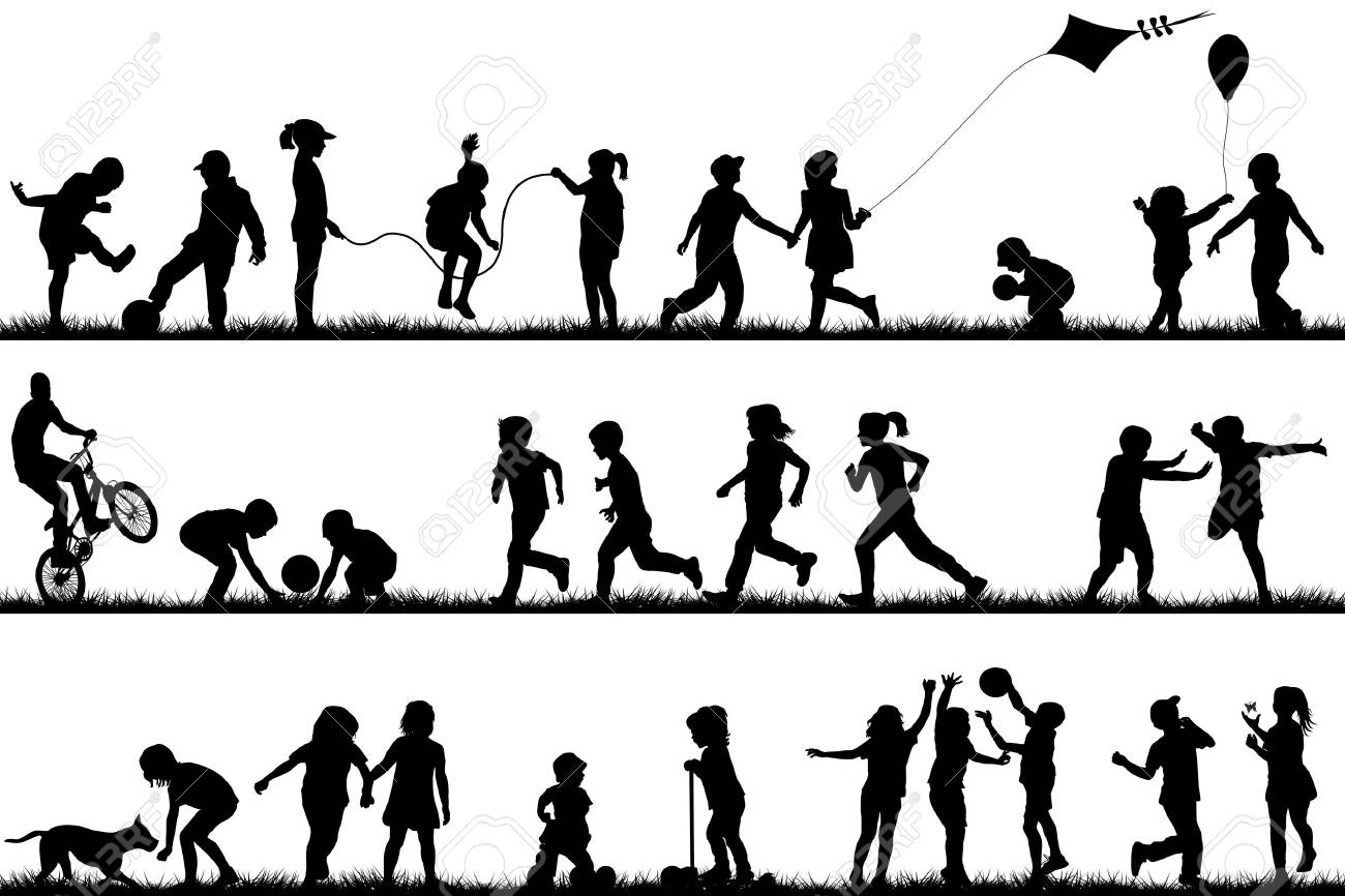 Children silhouettes playing outdoor - 37142131