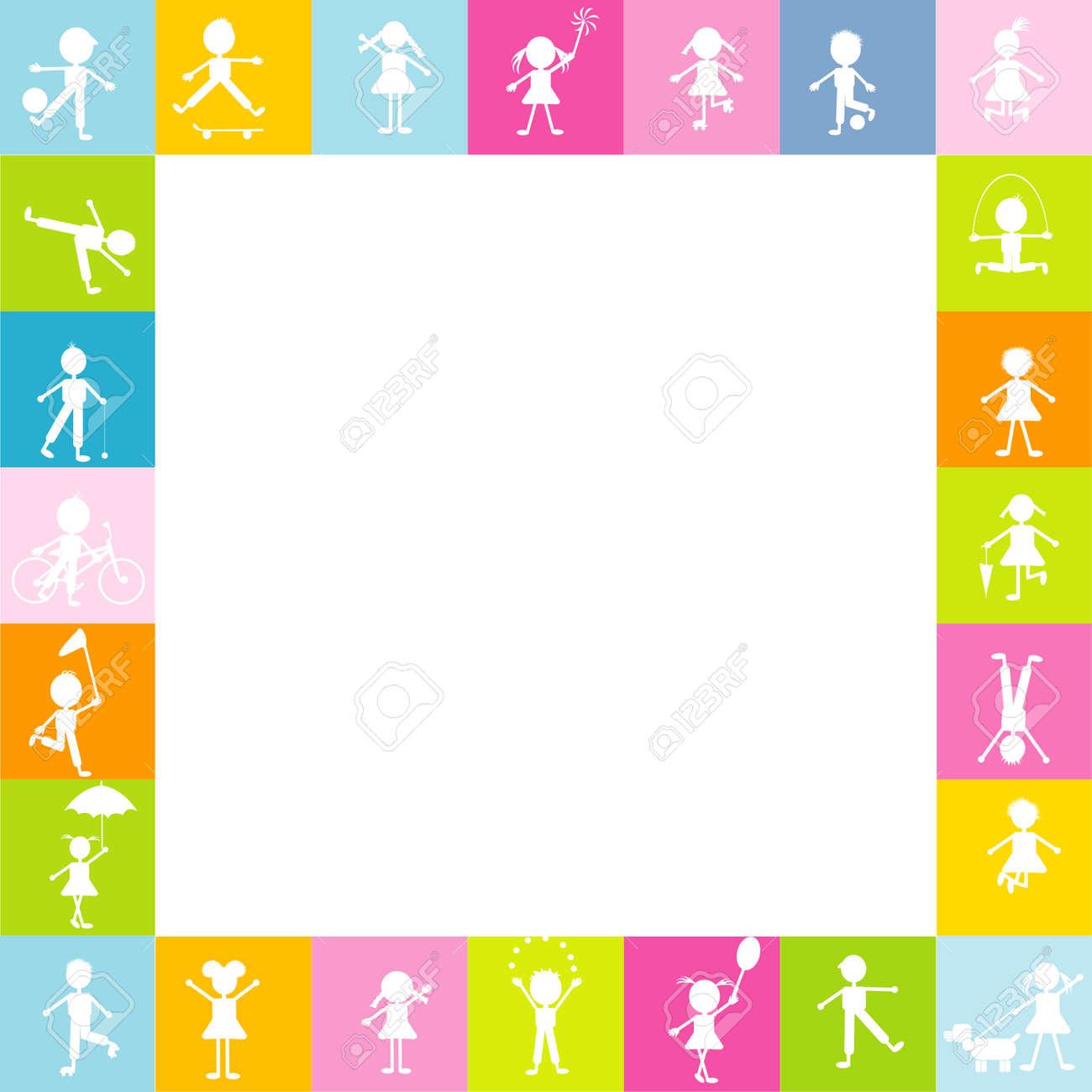 Rahmen Für Die Kinder Mit Stilisierten Kinder Silhouetten Spielen ...