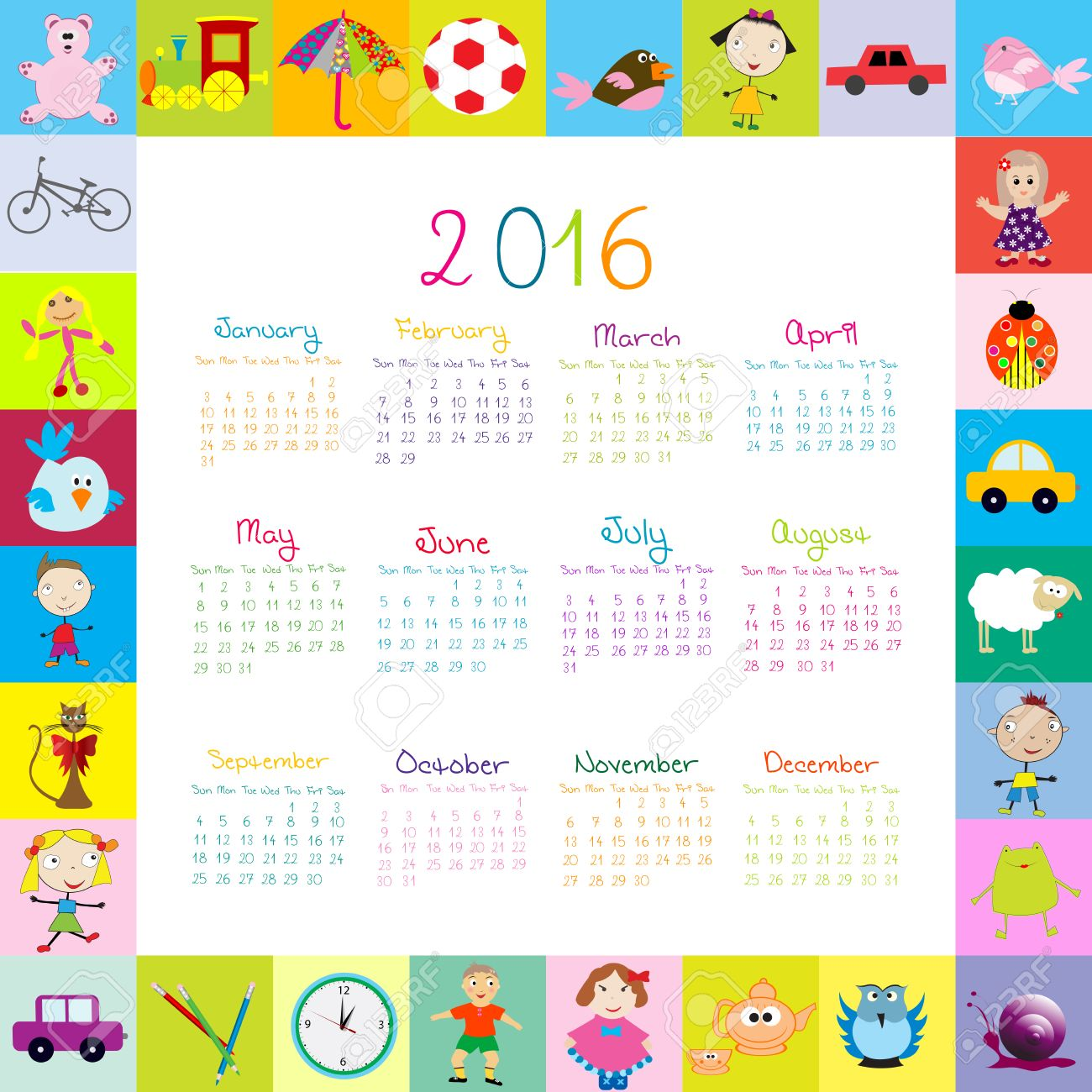 frame with cartoon toys 2016 calendar royalty free cliparts vectors