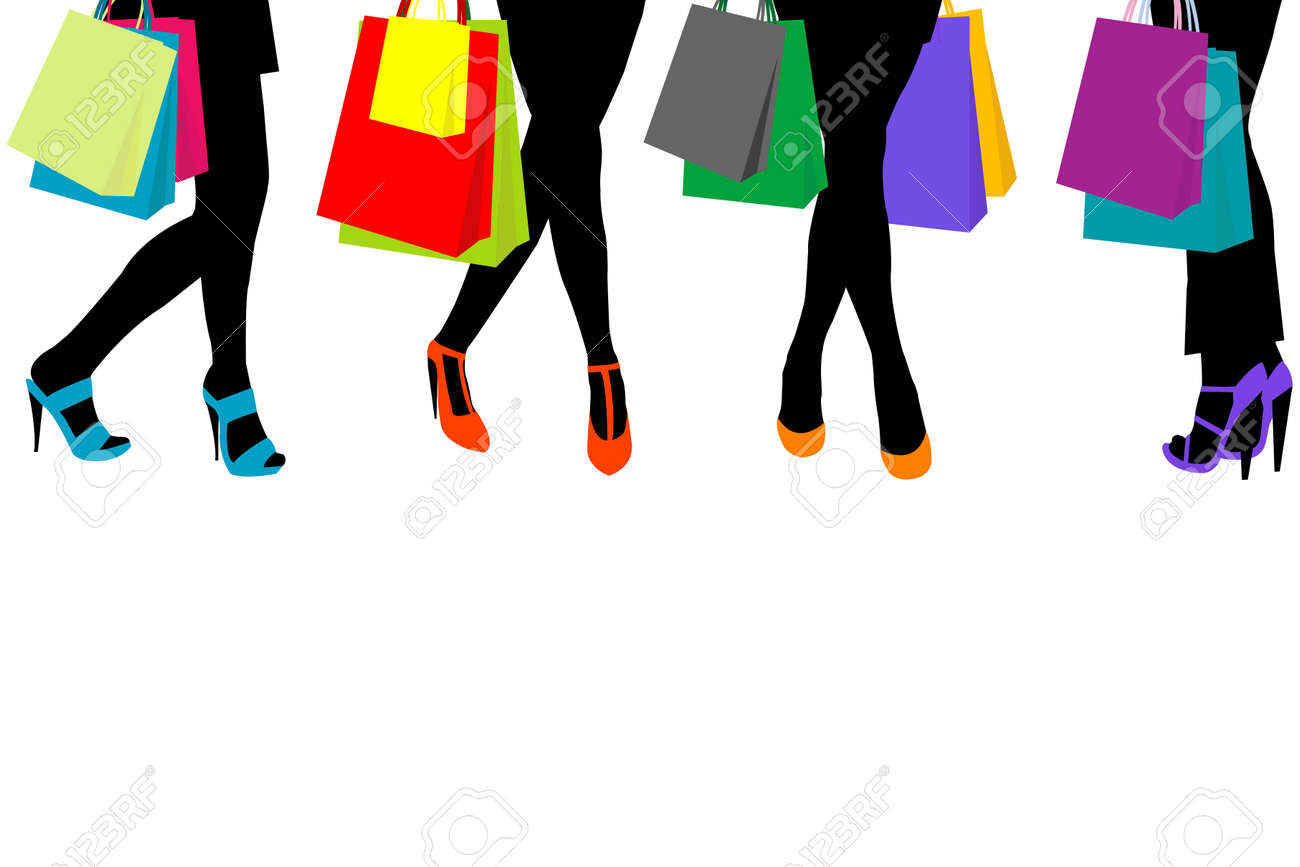 c4a726f68a7 Women silhouettes legs with high heels and shopping bags and..