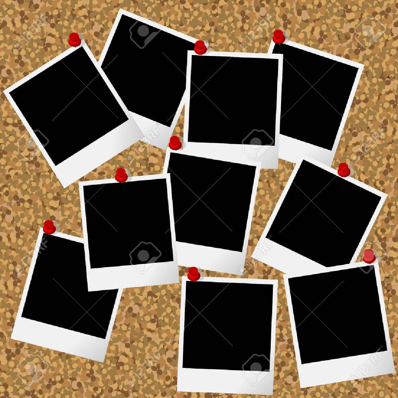 Blakn Photo Frames Hanging On Cork Board With Pushpins Royalty Free ...