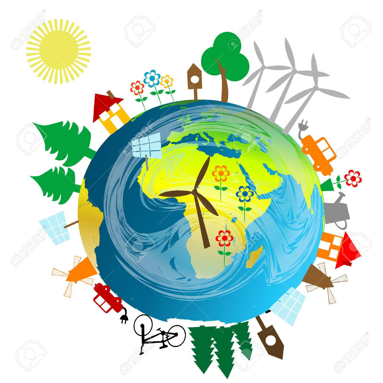 ecological concept with earth globe and alternative energy sources rh 123rf com Environment Clip Art clip art biology/ cells