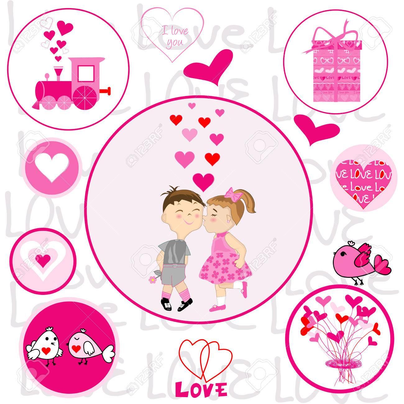 Set Of Round Frames With Valentine Elements With Cartoon Boy ...