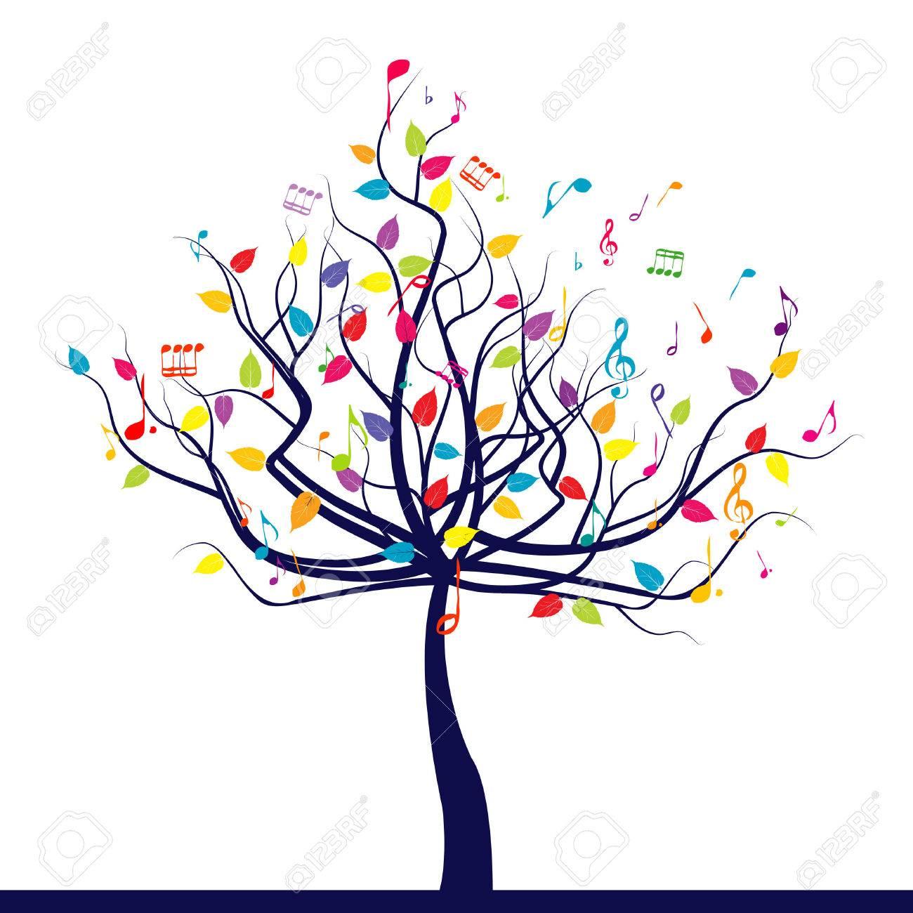 幸せな音楽の木のイラスト素材ベクタ Image 47929076