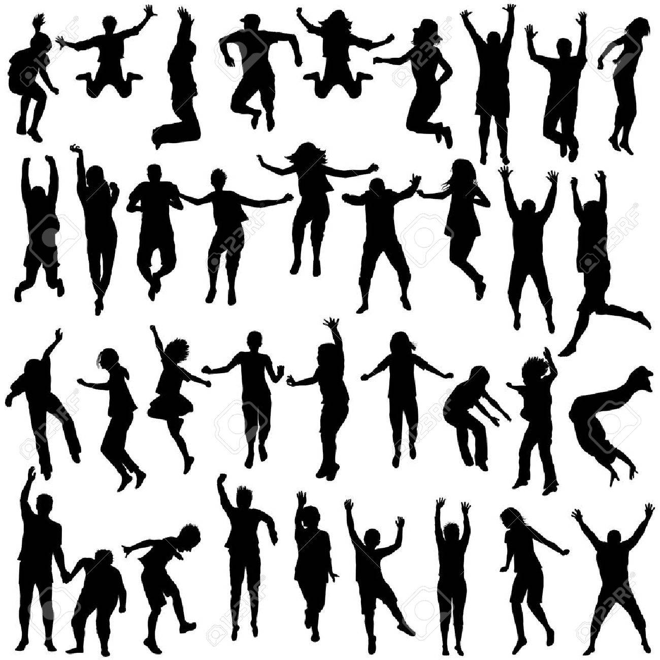 Silhouettes set of children and young people jumping - 50531007