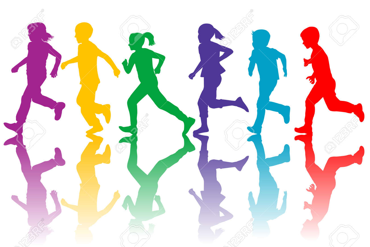 Colorful silhouettes of children running - 59586616