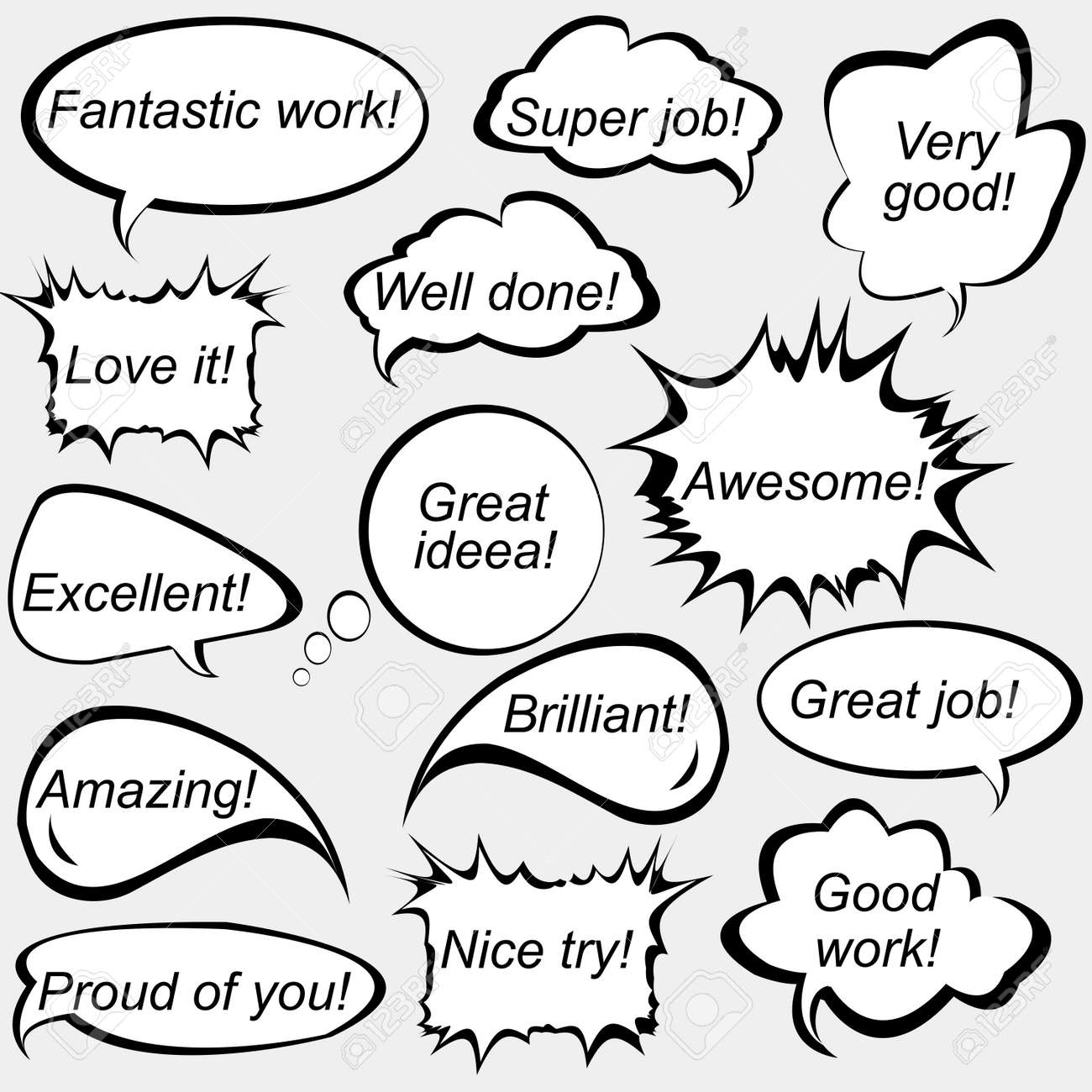 Set of speech bubbles with positive feedback messages - 63299074