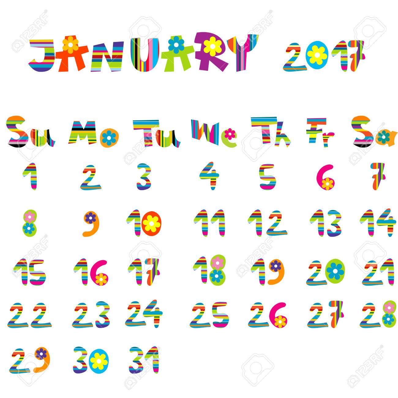 子供のためのかわいい 2017年 1 月カレンダーのイラスト素材ベクタ