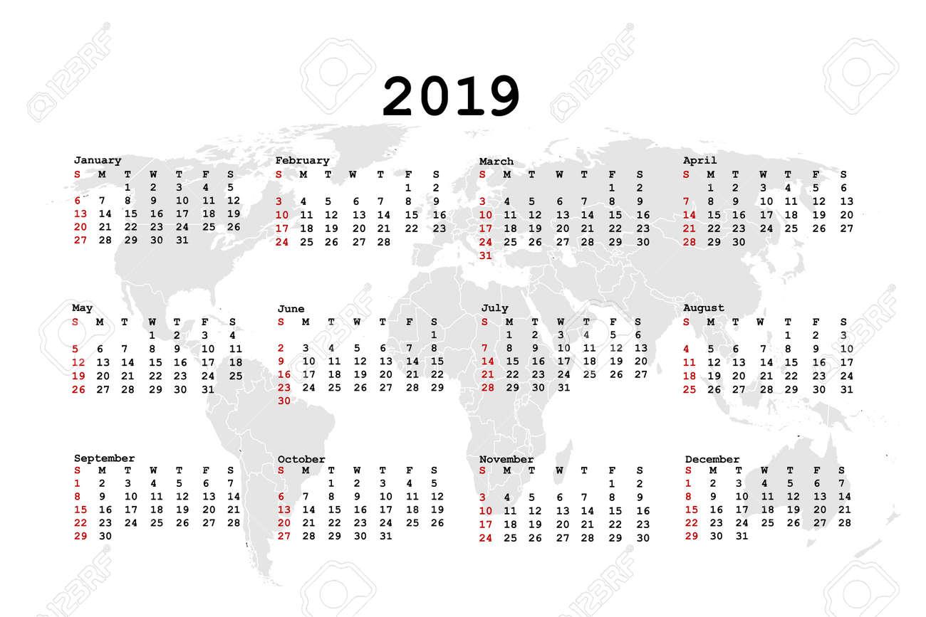 World Calendar.2019 Calendar For Agenda With World Map