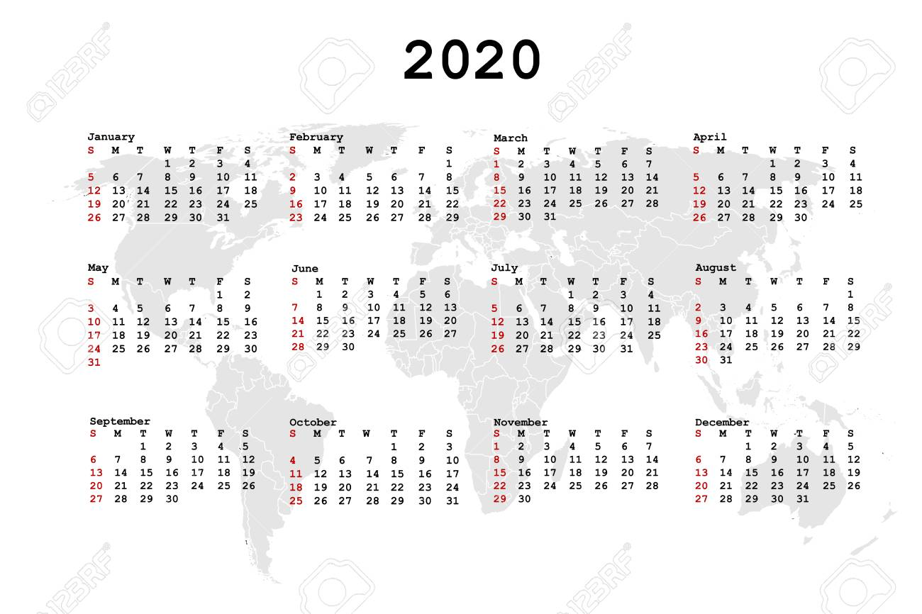 World Calendar 2020 2020 Calendar For Agenda With World Map. Royalty Free Cliparts