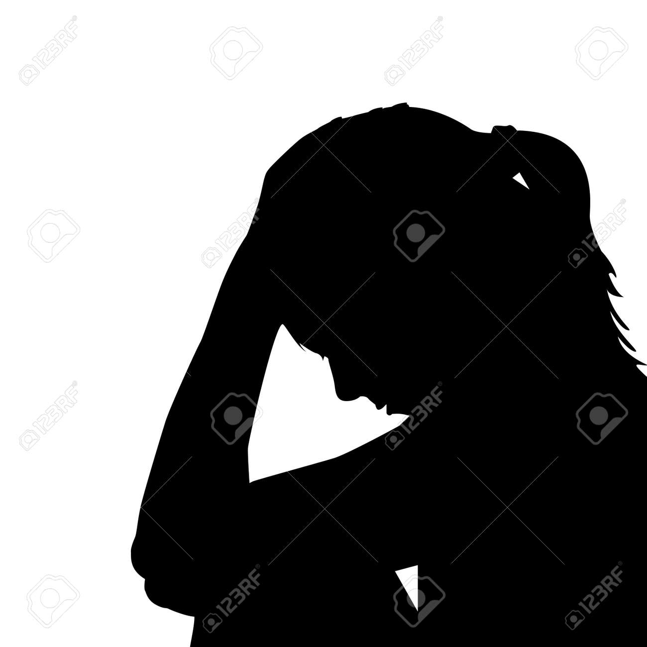 One sad woman holding her head in her hands, vector illustration. - 89064220