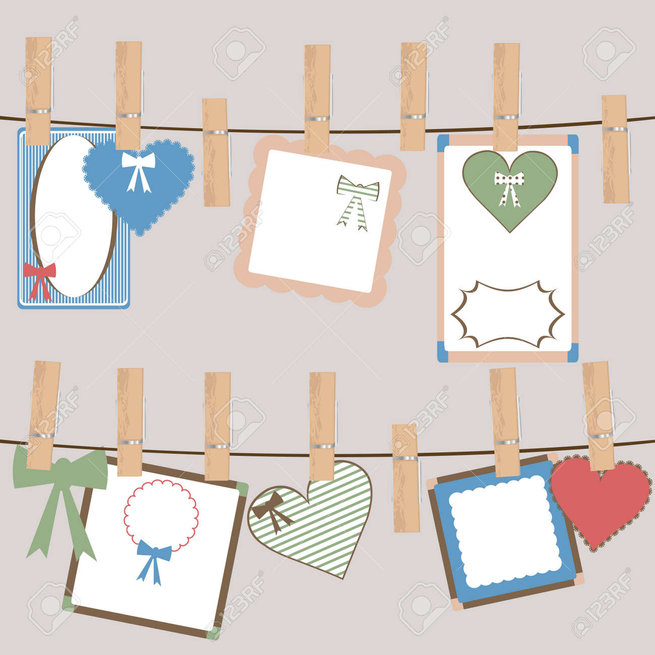 Set Of Cute Frames And Decorations Hanging On A Rope In Cloth ...